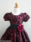 NEW VT  BURGUNDY  FLOCKING VELVET CHRISTMAS WINTER FLOWER GIRL DRESS  2 4 6 8 10