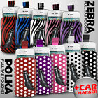 LEATHER POLKA AND ZEBRA PULL TAB CASE POUCH+CAR CHARGER FOR VARIOUS LG PHONE