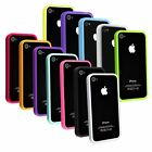 12 Colors Black Purple Pink White Clear TPU Bumper Frame Case For iPhone 4 4S 4G