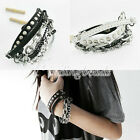 Fashion Punk Cool Multi-tier Leather Stud Chain Bangle Wristband Bracelet FJ39