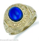 9ct Yellow Gold Gents Blue College Ring - British Made - 11.5 grams