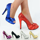 WOMENS LADIES HIGH STILETTO HEEL GLITTER PLATFORM PEEP TOE PARTY SHOES SIZE 3- 8