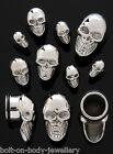 316L Steel Skull Ear Plug - choose from 6 sizes