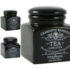 Charlotte Watson Black Wood Lid Tea Coffee Or Sugar Jar Canister