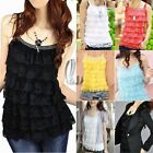 Sexy Tier Layered Lace Singlet Tank Top Vest Tee  SZ S-L/AU6-12 T096
