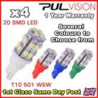 4 x 20 SMD LED 501 T10 W5W Side / Number Plate / Interior Light - SUPER BRIGHT
