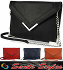 Ladies Designer Messenger Envelop Flap over Chain Strap Clutch Fashion Purse Bag