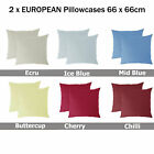 20 Colors - 2 x EUROPEAN Pillowcases 66 x 66cm - PICK YOUR COLOR New