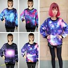 Fresh Stylish Unisex Galaxy Space Starry Print Long Sleeve Top Round T-Shirt