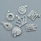 5x Rhinestone Crystal Silver Plated Pendants Charms Diamante Beads