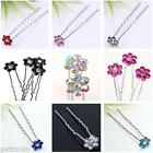 Pick Color Crystal Pave Flower Wedding Clip Hair Pin Woman Bridal Jewelry DIY