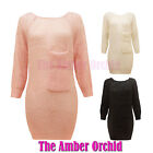 NEW LADIES WOOL KNITTED JUMPER POCKET CARDIGAN LOOK WOMENS SHEER DRESS TOP 8-14