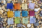 Внешний вид - 6 x Beach Sea Glass Curved Pendant Beads Flat Square 17.5mm Pick Your Color! P22