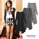 kn59 Celeb Style Waterfall Open Front Light Cotton Long Drape Cardigan Wrap