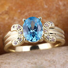 Double Arc 7mm Round Stone Women Gold Filled Ring Multi Size