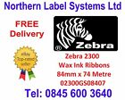 ZEBRA 84mm x 74 metre Wax Thermal Transfer Ink Ribbon 02300GS08407 +VAT RECEIPT