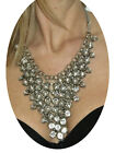 NEW (6278) Full Diamante Stones V Necklace Silver