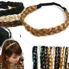 New Synthetic Hair Plaited Plait Elastic Headband Hairband Braid Wave 0.9-1.5cm
