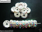 100p Czech Crystal Rhinestone Silver Rondelle Spacer Beads 4mm 5mm 6mm 8mm 10mm