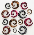 Snake Skin Print Spiral Taper / Ear Expander  - select size and colour