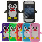 Penguin Silicone Skin Case Fun Cover Protector for iPhone 4/4S UK