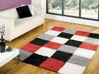 Large Shaggy Modern Quality Red Grey Silver Rug in 3 Sizes Carpet
