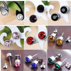 Faceted Round Stainless Steel Purple Crystal Bead Ear Earring Stud Famous Star