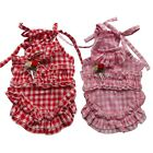 Pleated Ruffle Dog Dress Check Summer Dress Pet Apparel Dog Clothes XS S M L XL