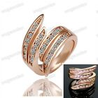 US Size 6.7.8  Women's Exquisite Rhinestone 18 K Rose Golden Plated 4 Line Ring