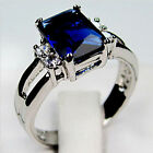 Size 5-10 Blue Sapphire Crystal Ring Women\'s 10KT White Gold Filled Wedding Band