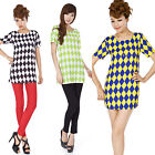 Top Womens Color Block Checkerboard Short Sleeve U Neck Chiffon Mini Party Dress