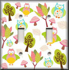 Light Switch Plate Cover - Nature Owls Trees Mushrooms - Girls Room Decor