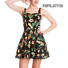 HELL BUNNY Tropical MINI DRESS Vintage BECKY Black Summer Rockabilly All Sizes