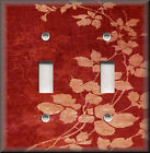 Light Switch Plate Cover - Floral Leaves - Red - Modern Home Decor