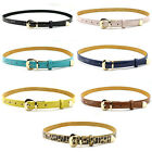 Womens Fashion Cute Cross Buckle Candy Color Thin Skinny PU Leather Belt Tki
