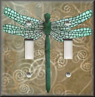 Light Switch Plate Cover - Dragonfly With Tan Swirl Background - Home Decor