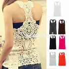 Sexy Lace Flower Tank Top Sexy Cami Sleeveless Casual Cotton Blend T-Shirt