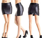 New  Women Stretch PU Leather Look Tights Back Zip Mini-skirt Dress