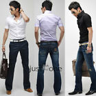 Mens Casual Slim Fit Stylish Dress Shirts Cotton Blend Blouse Short Sleeve HOT