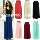 New Lady Chiffon Pleated Retro Long Maxi Dress Elastic Waist Skirt