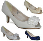 LADIES WOMENS DIAMANTE LOW HEEL BRIDAL BRIDESMAID PEEPTOE PARTY SATIN SHOES 3-8