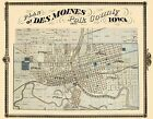 Old City Map - Des Moines Iowa Landowner - 1875 - 29.63 x 23