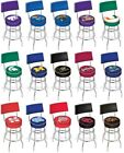 Choose Your NCAA K-O Team L7C4 Chrome Double-Ring Swivel Bar Stool w / Seat Back