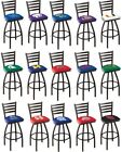 Choose Your NCAA K-O Team L014 Black Single-Ring Swivel Bar Stool w / Ladder Back