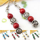 EH534 1 Pair Tiberan Silver Gemstone Turquoise Coral Rose Flower Tibet Earrings