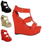 WOMENS LADIES FAUX SUEDE STRAPPY PLATFORM PEEPTOE BUCKLE WEDGES HEELS SHOES SIZE