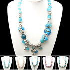 XB168-169 Crystal Ceramics Coloured Glaze Shell Gemstone Flower Necklace Bangle