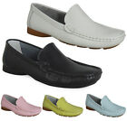LADIES WOMENS FLAT REAL LEATHER CASUAL SLIP ON LOAFERS PUMPS WORK SHOES SIZE
