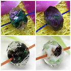 10pcs Lampwork Violet Black Crystal Faceted Abacus Glass Flower Loose Beads