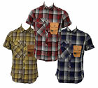 Mens Duck and Cover Short Sleeve Checkered Casual Shirts, Small and Medium